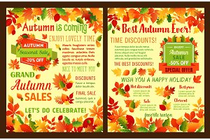 Autumn sale shop discount vector leaflet or poster