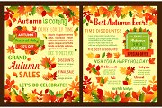 Autumn sale shop discount vector leaflet or poster