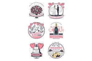 Wedding celebration vintage symbol design