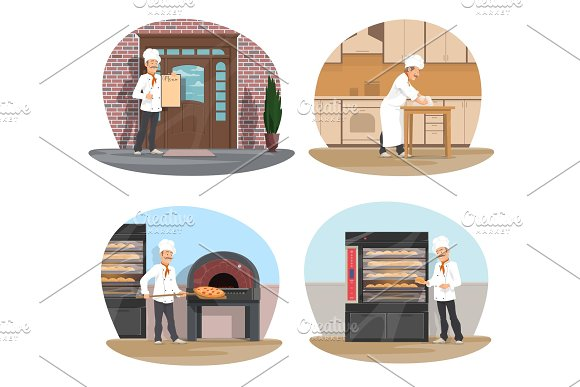Baker, pizza and pastry chef icon of bakery design
