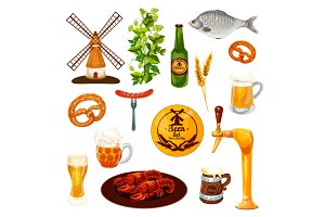Beer drink and snack food icon for bar, pub design