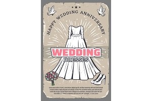 Wedding anniversary vintage greeting card template