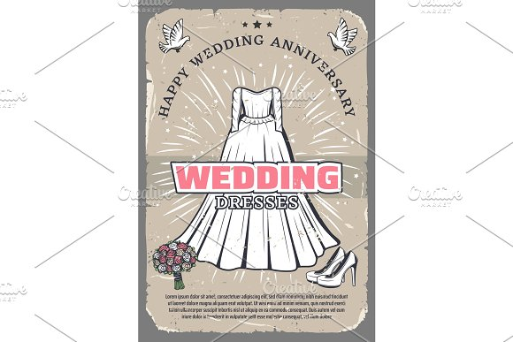 Wedding anniversary vintage greeting card template in Illustrations
