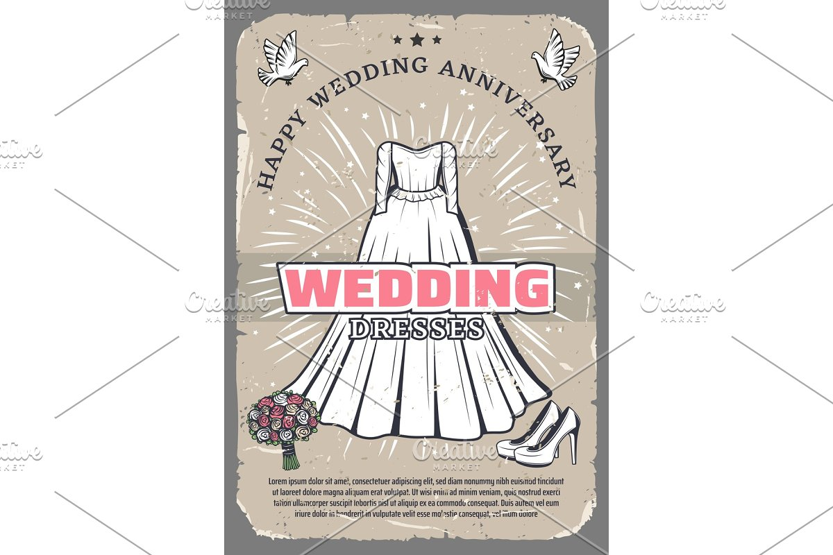 Wedding anniversary vintage greeting card template in Illustrations - product preview 8