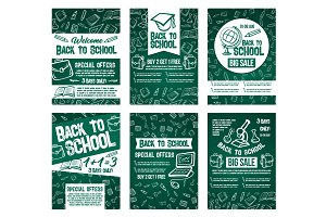 Back to School vector sale offer posters set