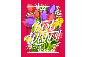 Greeting card of flower and Best Wishes lettering