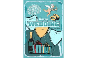 Wedding ceremony vintage greeting card design