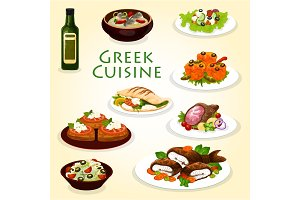 Greek dinner icon with mediterranean cuisine food