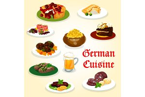 German cuisine dinner with sausage and beer icon