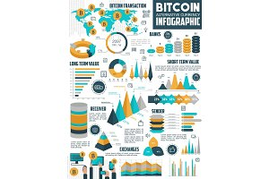 Bitcoin cryptocurrency infographic of crypto money
