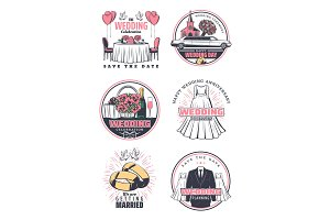 Wedding ceremony celebration retro icon design
