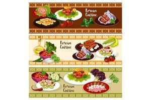 Korean cuisine food banner for asian restaurant