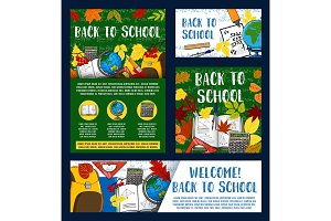 Welcome back to school greeting banner design