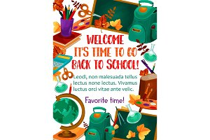 Back to School vector stationery study poster