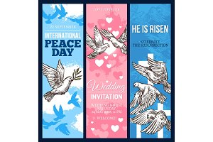 White dove of peace sketch banner with pigeon bird