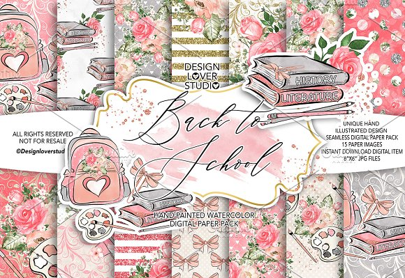 Back to School digital paper pack in Patterns