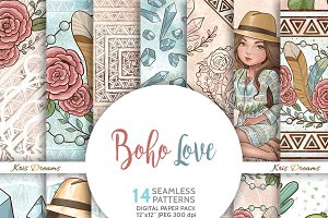 Boho Love Digital Paper