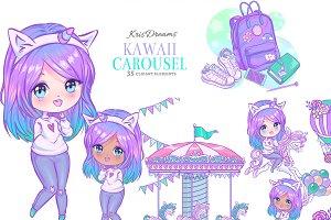 Kawaii Carousel Clipart
