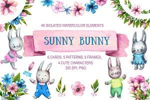 Sunny Bunny - Watercolor Clip Art