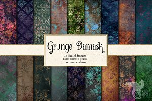 Grunge Damask Digital Paper