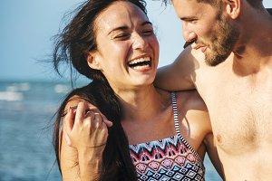 Couple romantic moment at beach