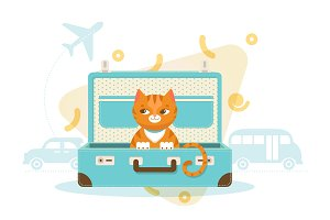 Colorful Travel With Pets Concept