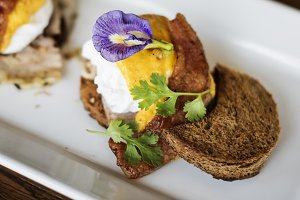 Tasty eggs Benedict for breakfast