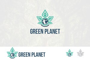 Green Earth Planet Nature Logo