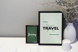 Travel quote frames illustration