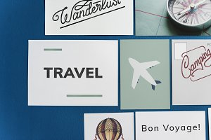 Travel postcard set on a blue wall