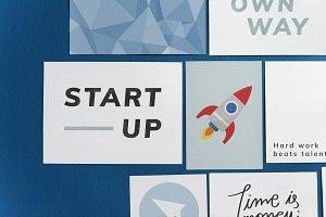 Startup postcard set on a blue wall