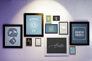 Frames with creative graphic on wall