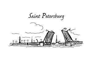 Drawbridge, symbol of Saint Petersburg, Russia. Sketch for your design