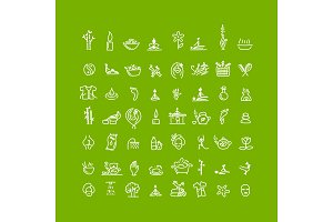 Massage and spa, icons set for your design