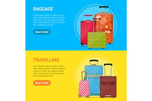 Cartoon Travel Suitcase Set. Vector