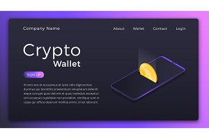 Cryptocurrency wallet. Isometric illustration of Cryptocurrency mobile storage app concept. Online wallet Landing page design