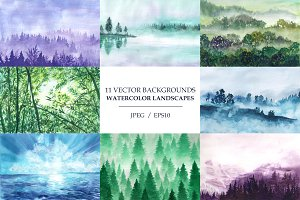 Watercolor backgrounds. Landscapes