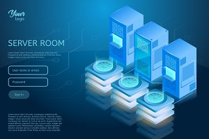 Web hosting and data center isometric vector illustration.