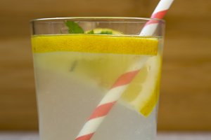 Lemonade drink in a glass with fresh