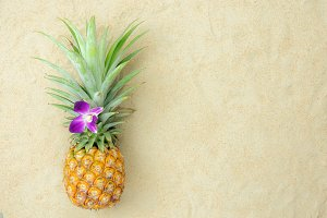 Top view pineapple fruits summer.