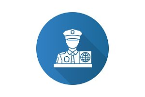 Passport control officer flat design long shadow glyph icon