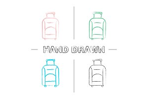 Baggage hand drawn icons set