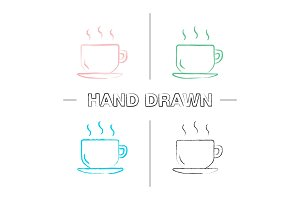 Cup with hot drink hand drawn icons set