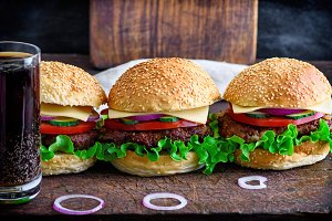 hamburger with beef, onion, tomato