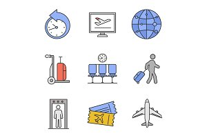 Airport service color icons set