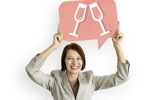 Businesswoman bubble champagne icon