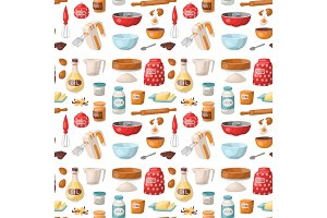 Baking pastry prepare cooking ingredients kitchen utensils homemade food preparation baker seamless pattern background vector illustration.