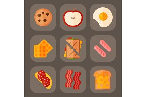 Breakfast healthy food meal icons drinks flat design bread egg lunch healthy meat menu restaurant vector illustration.