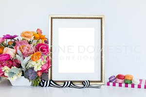 Styled Gold Poster Frame Mock Up