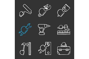 Hands holding instruments chalk icons set
